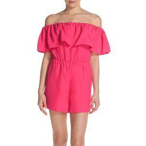 Amanda Uprichard Hot Pink Silk Kiara Romper